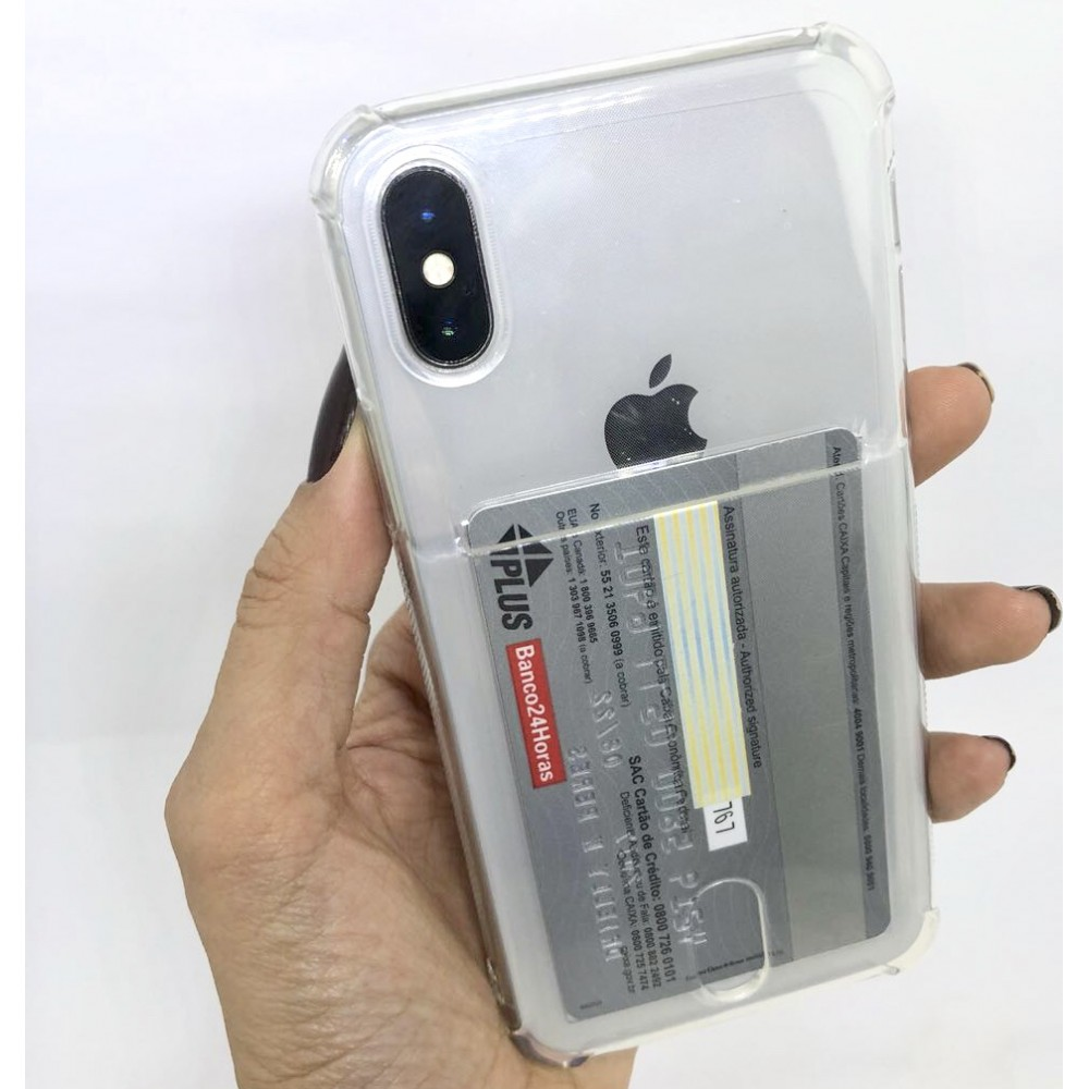 CASE ANTI IMPACTO TRANSPARENTE PORTA CARTÃO IPHONE 5,5S,5SE/6,6S/7,7PLUS/8,8PLUS/X