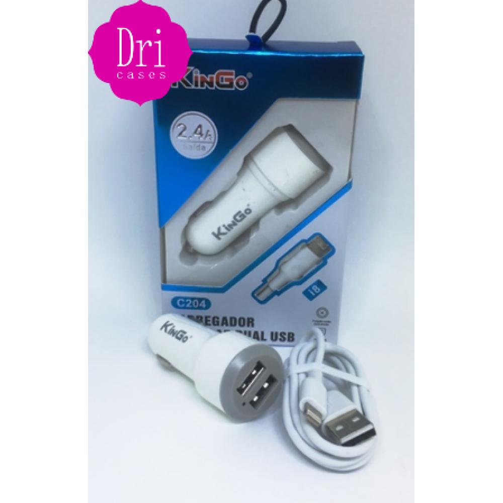 Kit Carregador veicular LIGHTINING (IPHONE)  2.4A KinGo