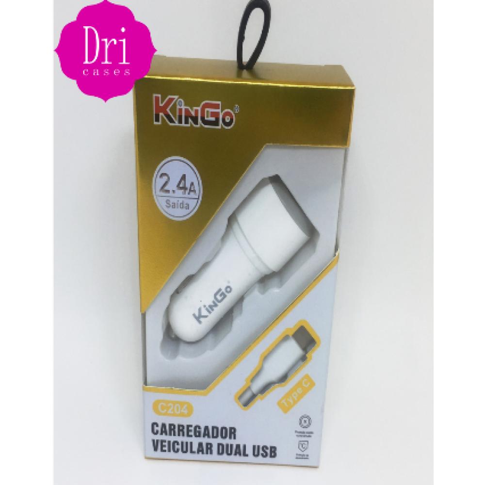 Kit Carregador veicular tipo-C 2.4A KinGo