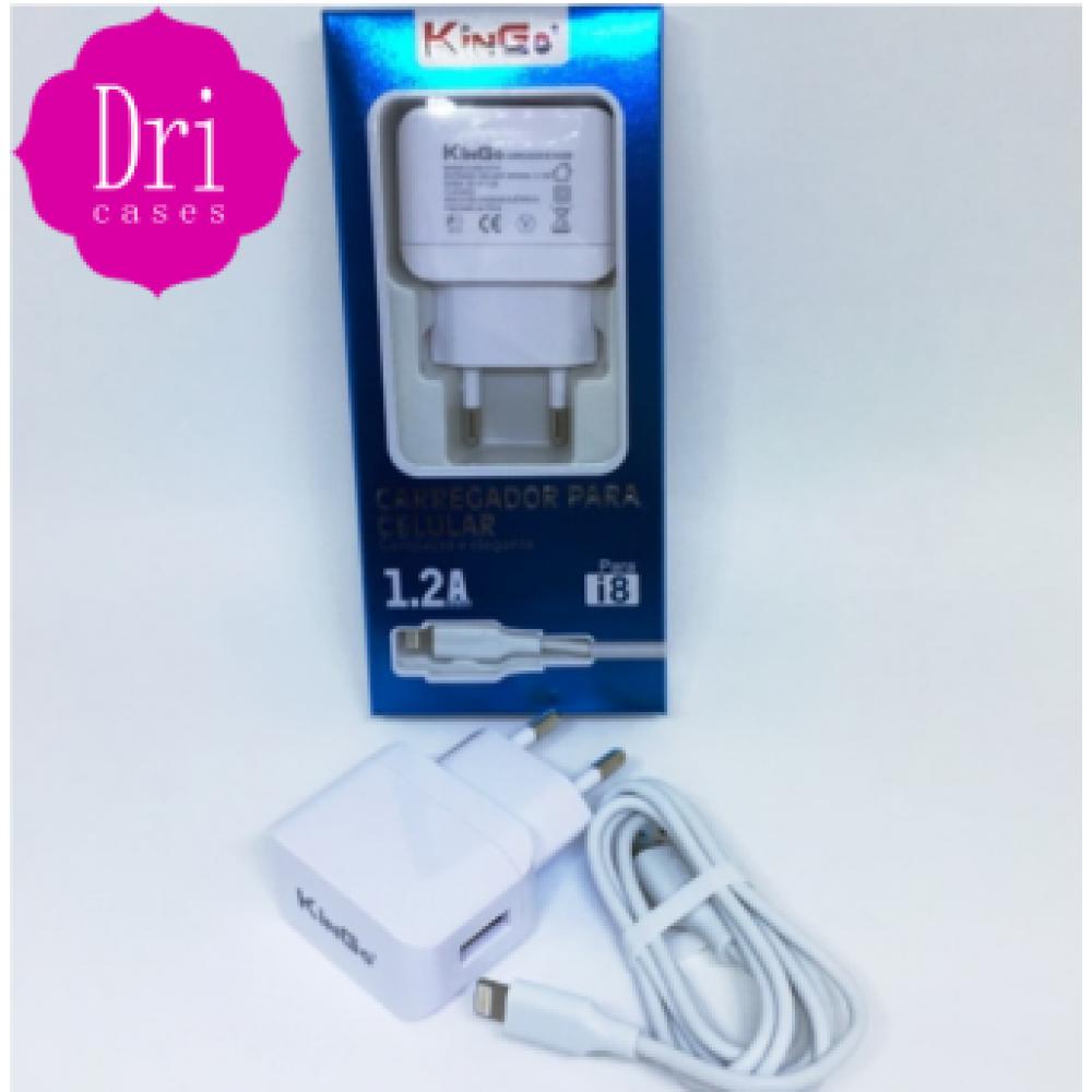 Kit Carregador Lightining (IPhone) 1.2A KinGo